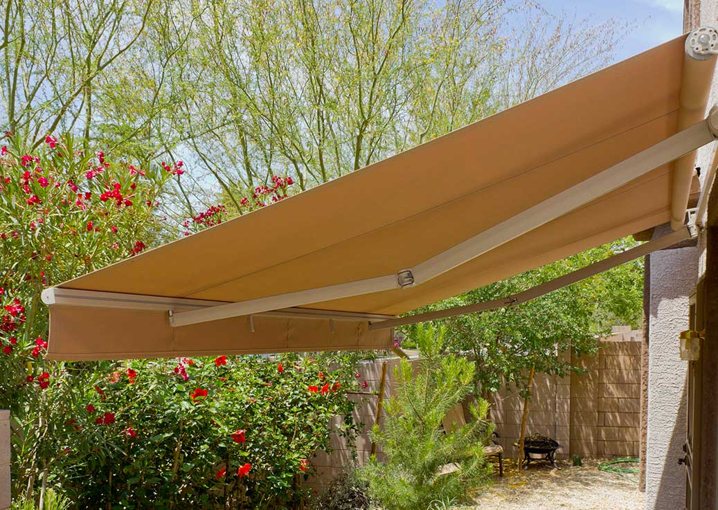 awning in a backyard