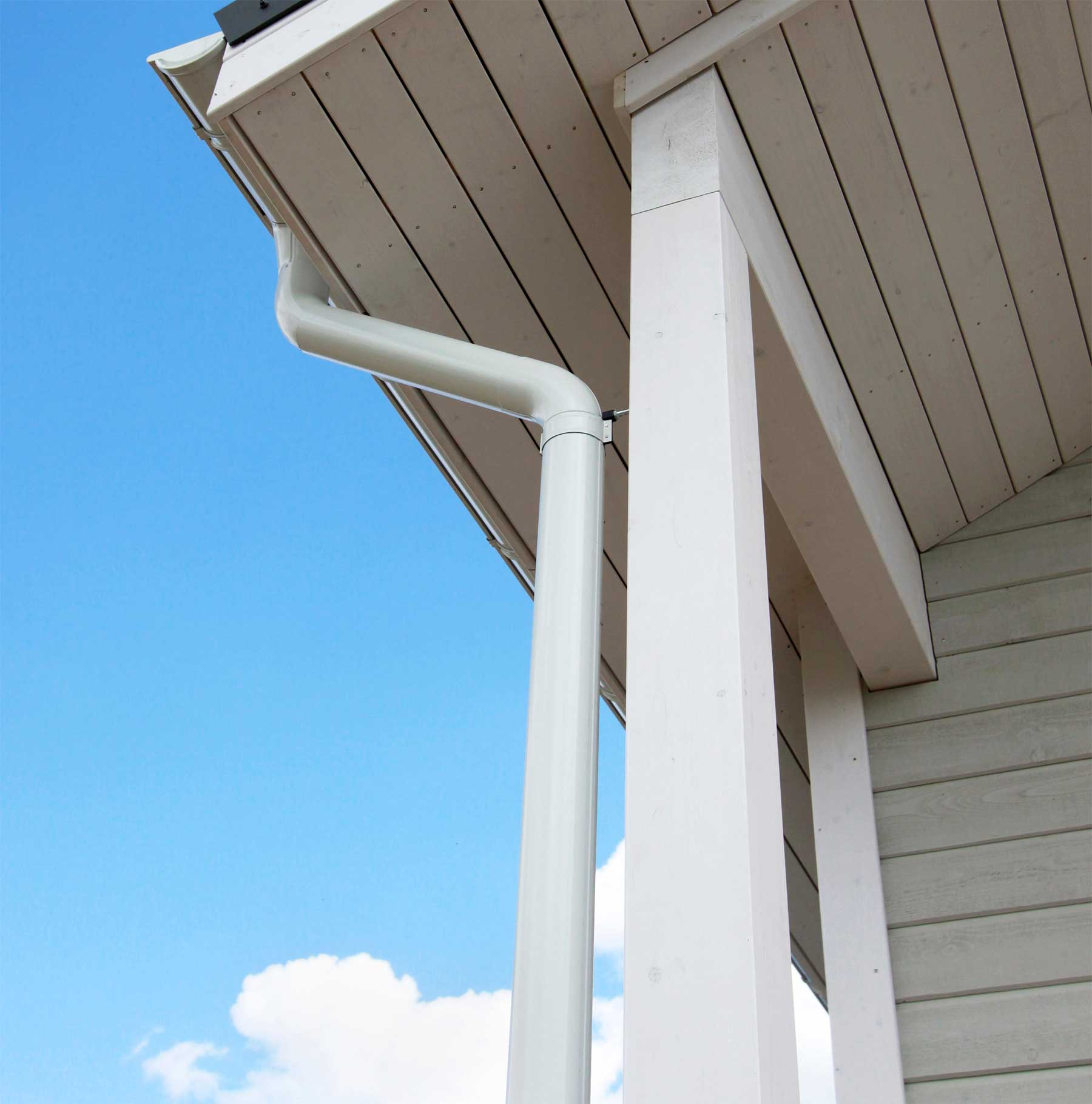 white gutters on a home